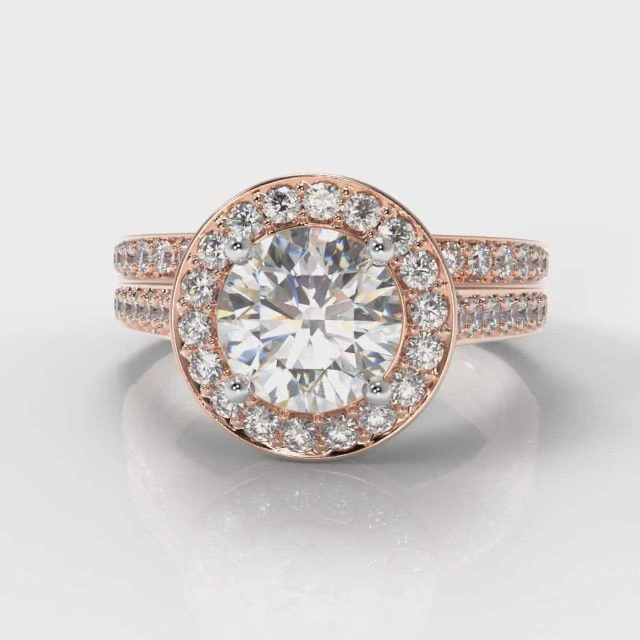 Pavé Halo Round Brilliant Cut Lab Diamond Bridal Ring Set - Rose Gold-Ring Setting-Pure Carats-Pure Carats