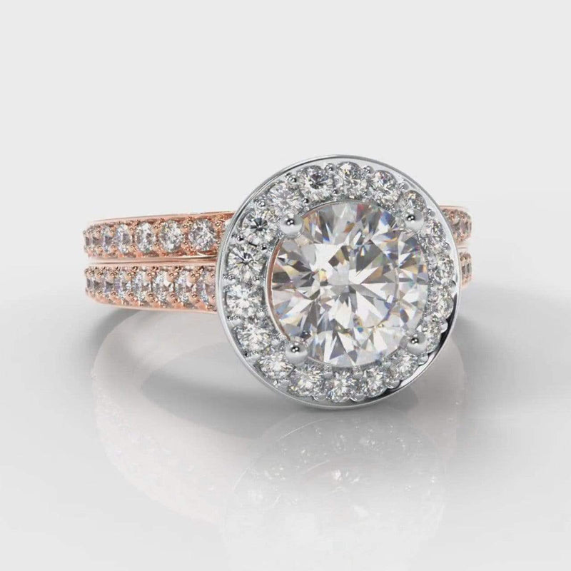 Pavé Halo Round Brilliant Cut Lab Diamond Bridal Ring Set- Two Tone Rose Gold-Ring Setting-Pure Carats-Pure Carats
