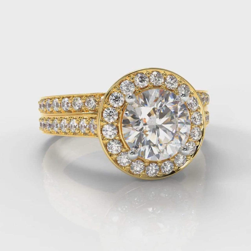 Pavé Halo Round Brilliant Cut Lab Diamond Bridal Ring Set - Yellow Gold-Ring Setting-Pure Carats-Pure Carats