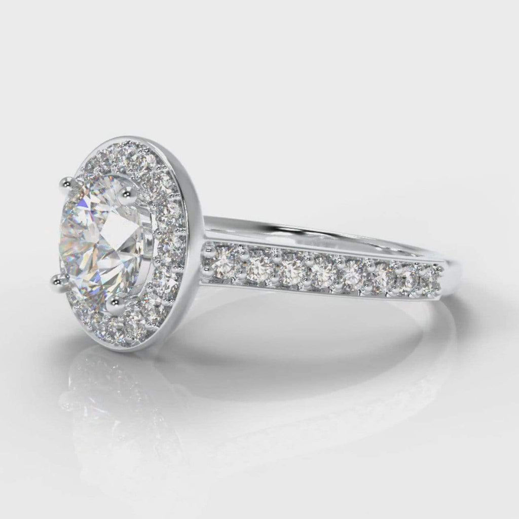 Pavé Halo Round Brilliant Cut Lab Diamond Engagement Ring-Ring Setting-Pure Carats-Pure Carats