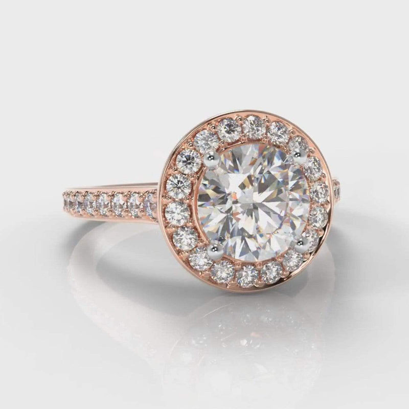 Pavé Halo Round Brilliant Cut Lab Diamond Engagement Ring - Rose Gold-Ring Setting-Pure Carats-Pure Carats
