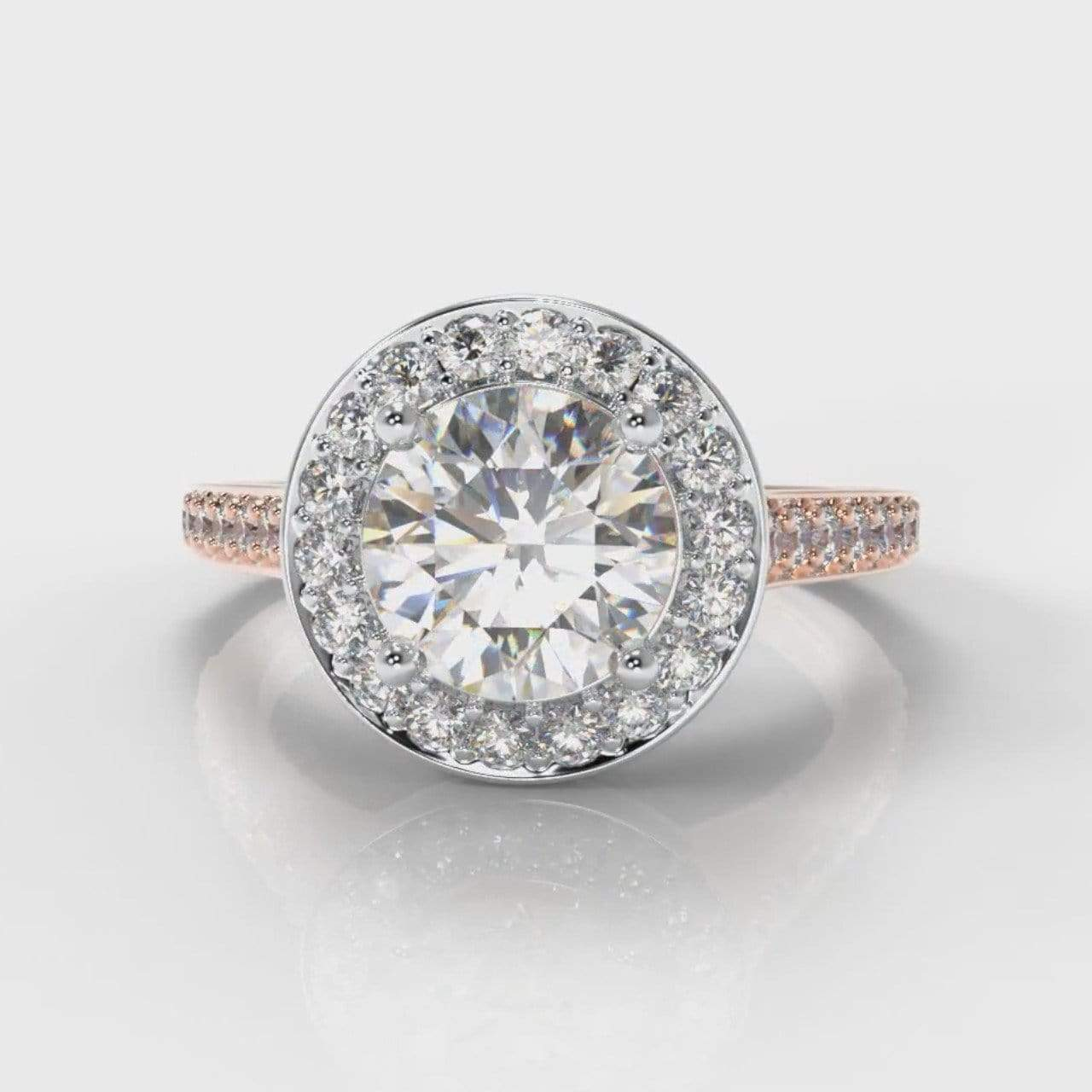 Pavé Halo Round Brilliant Cut Lab Diamond Engagement Ring - Two Tone Rose Gold-Ring Setting-Pure Carats-Pure Carats