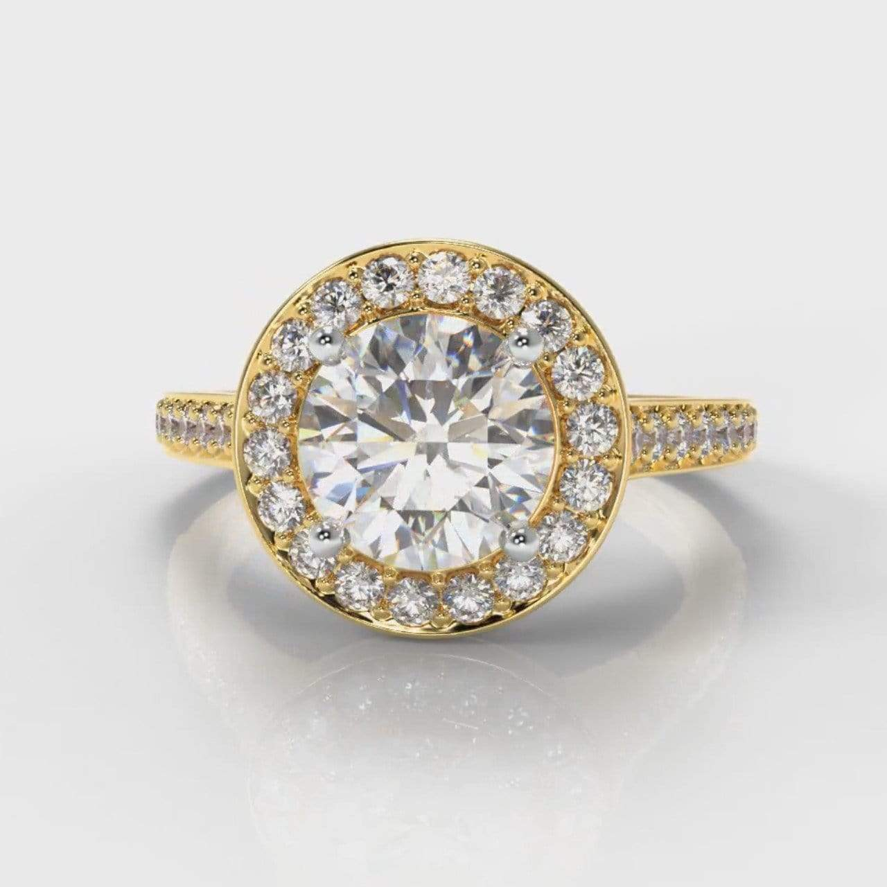 Pavé Halo Round Brilliant Cut Lab Diamond Engagement Ring - Yellow Gold-Ring Setting-Pure Carats-Pure Carats