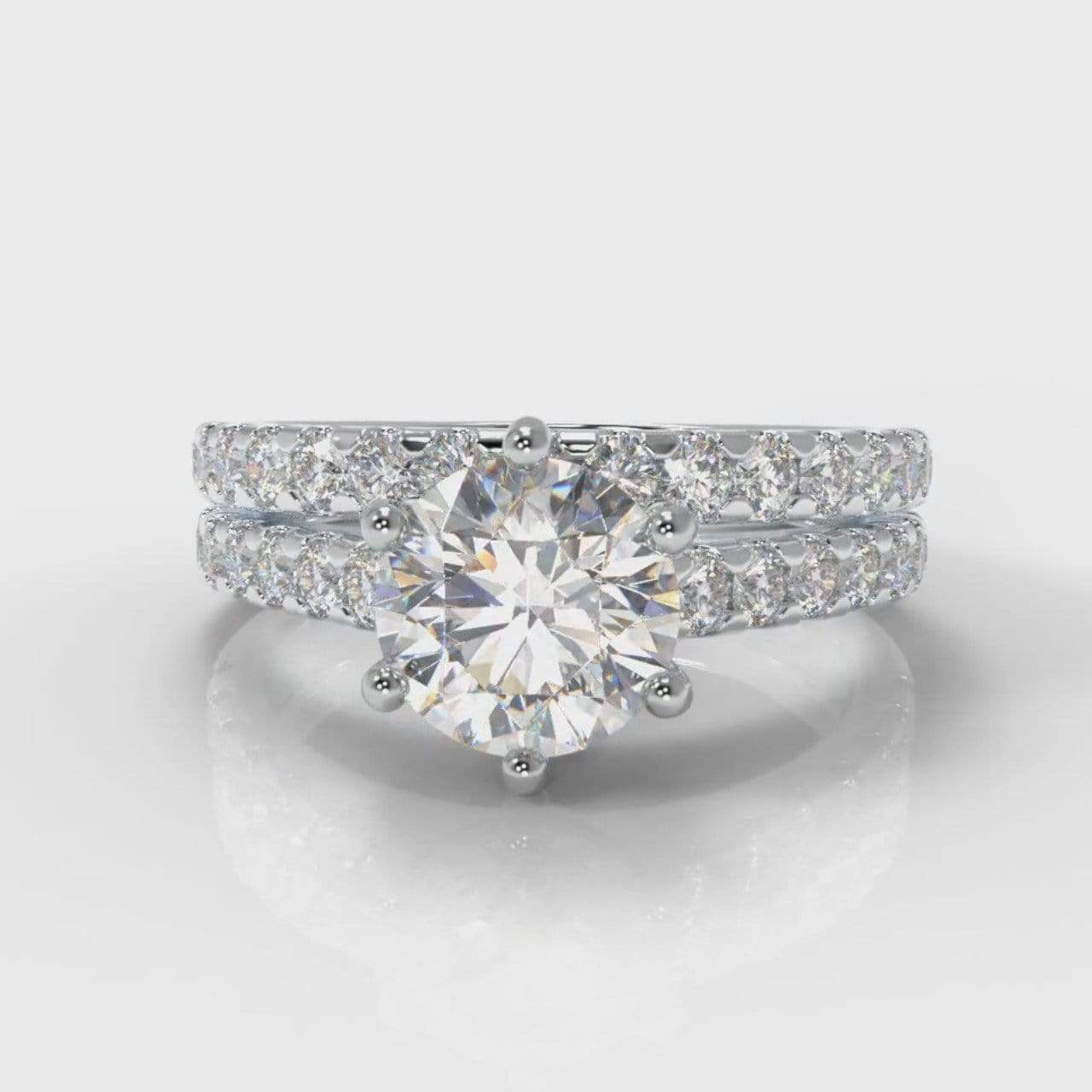 Six Claw Castle Round Brilliant Cut Lab Diamond Bridal Ring Set-Ring Setting-Pure Carats-Pure Carats