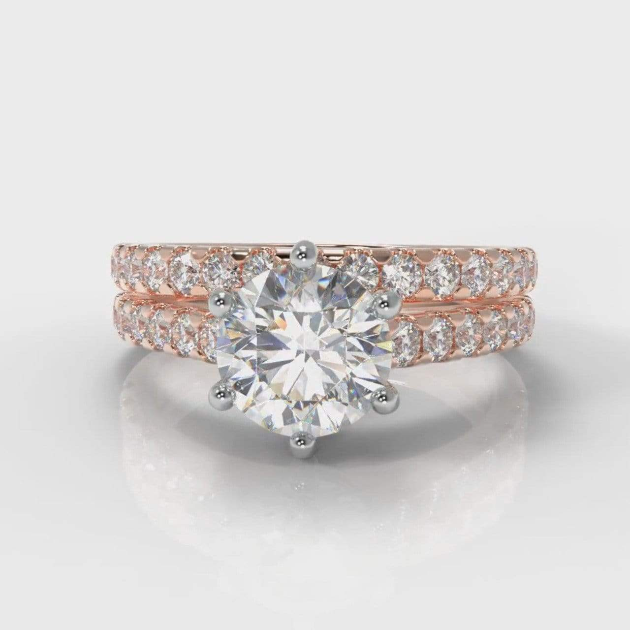 Six Claw Castle Round Brilliant Cut Lab Diamond Bridal Ring Set - Rose Gold-Ring Setting-Pure Carats-Pure Carats
