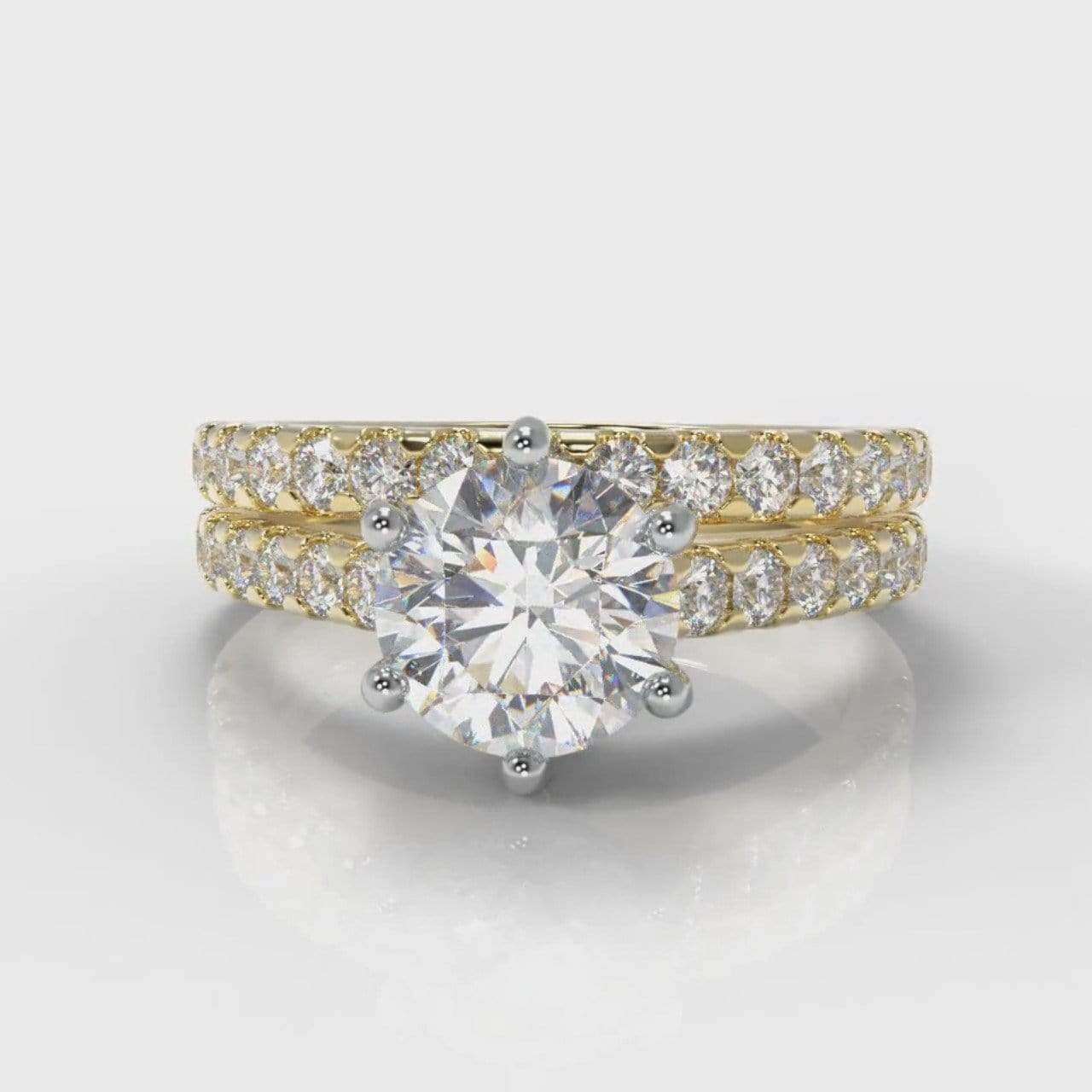 Six Claw Castle Round Brilliant Cut Lab Diamond Bridal Ring Set - Yellow Gold