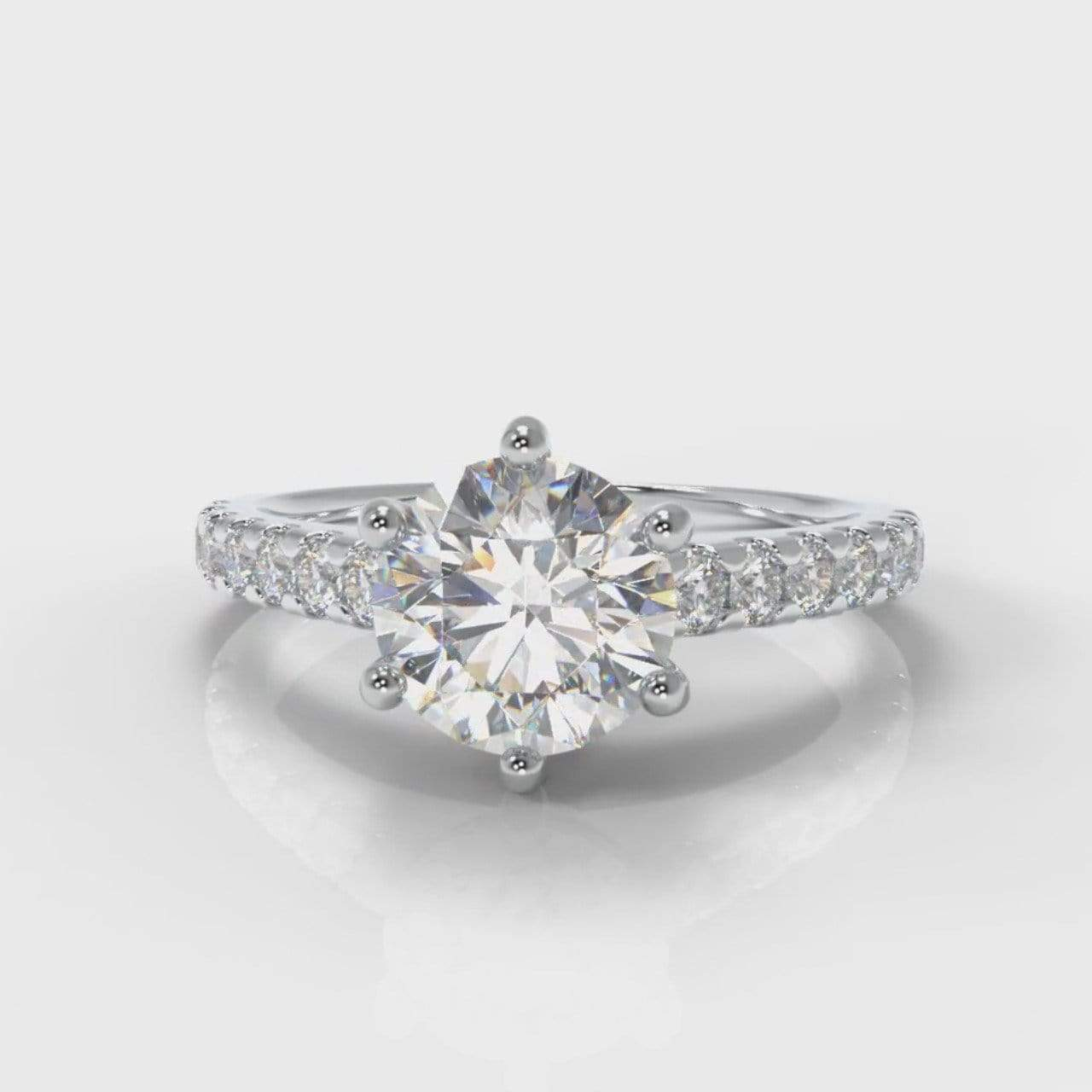 Six Claw Castle Round Brilliant Cut Lab Diamond Engagement Ring-Ring Setting-Pure Carats-Pure Carats