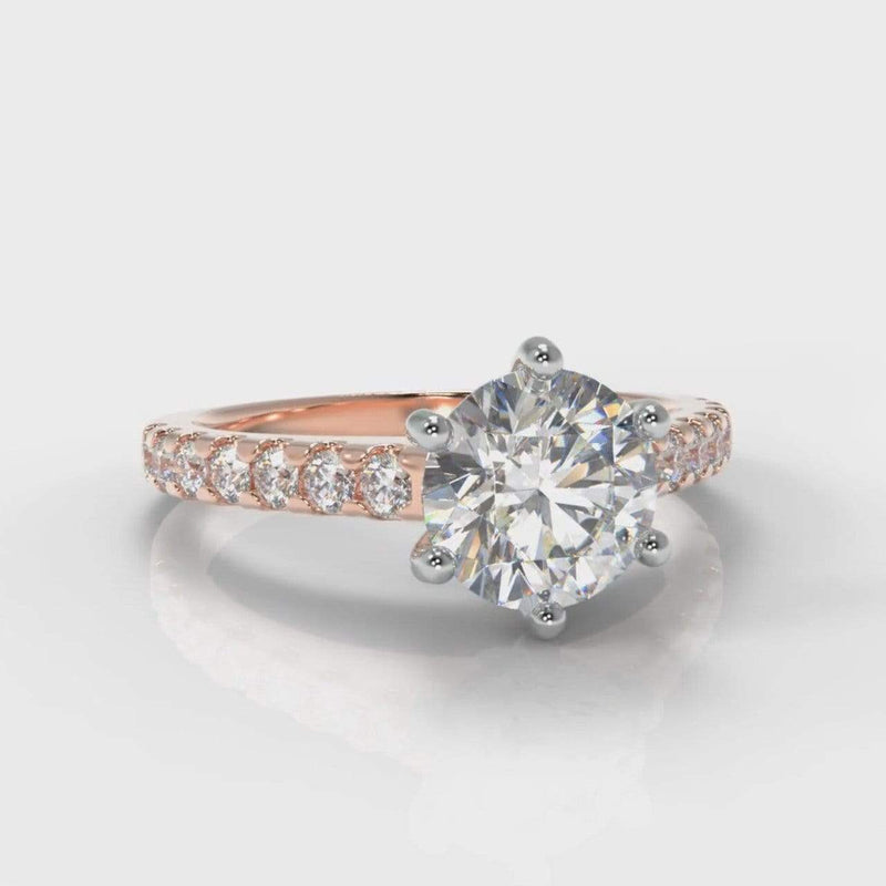 Six Claw Castle Round Brilliant Cut Lab Diamond Engagement Ring - Rose Gold-Ring Setting-Pure Carats-Pure Carats