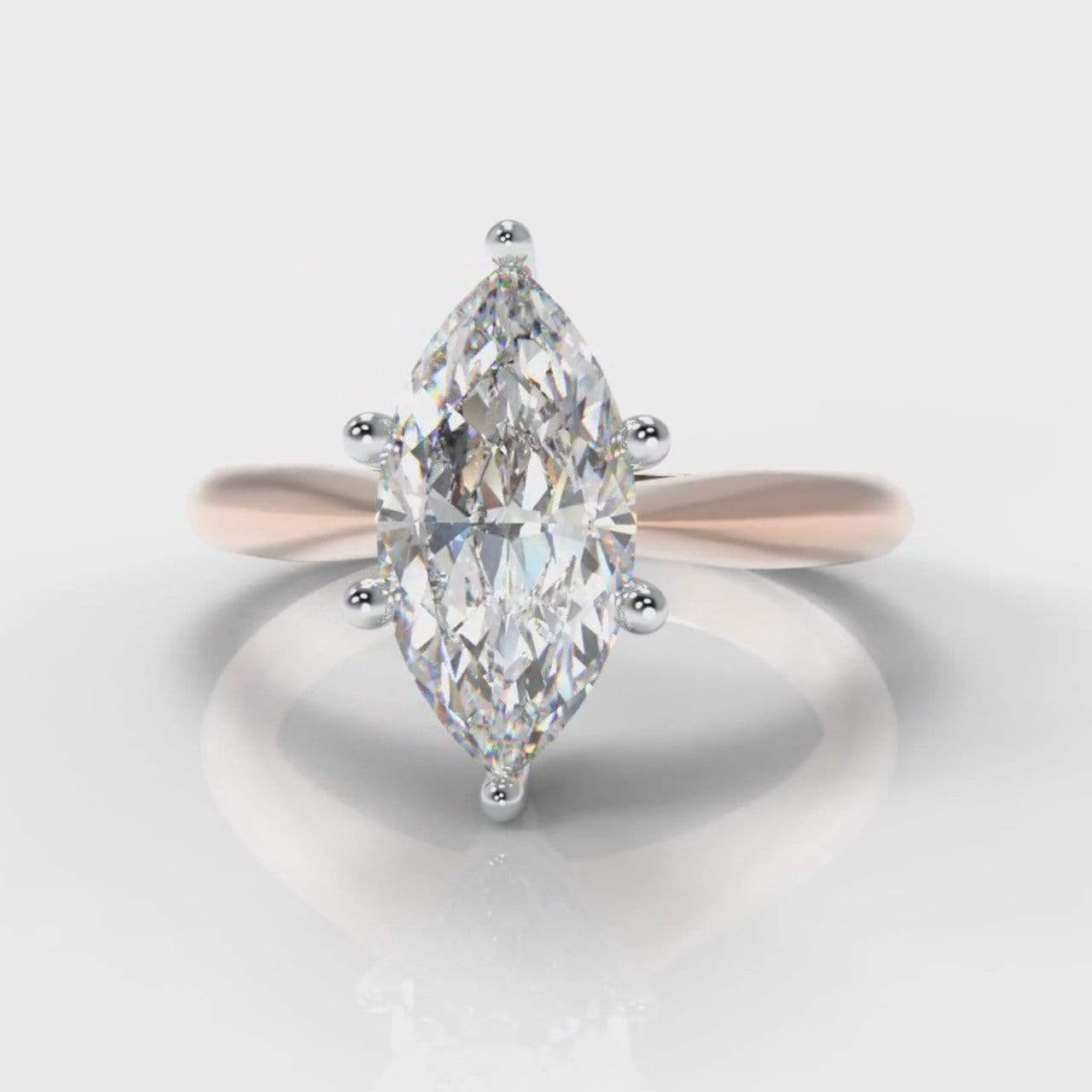Six Claw Classic Solitaire Marquise Lab Diamond Engagement Ring - Rose Gold-Ring Setting-Pure Carats-Pure Carats