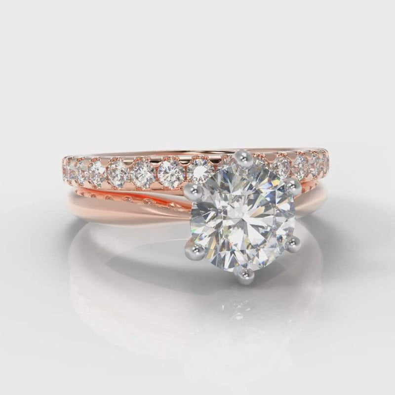 Six Claw Classic Solitaire Round Brilliant Cut Lab Diamond Bridal Ring Set - Rose Gold