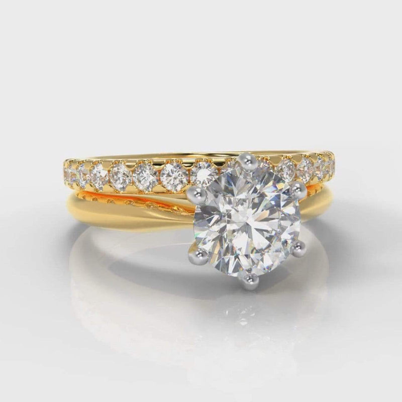 Six Claw Classic Solitaire Round Brilliant Cut Lab Diamond Bridal Ring Set - Yellow Gold-Ring Setting-Pure Carats-Pure Carats