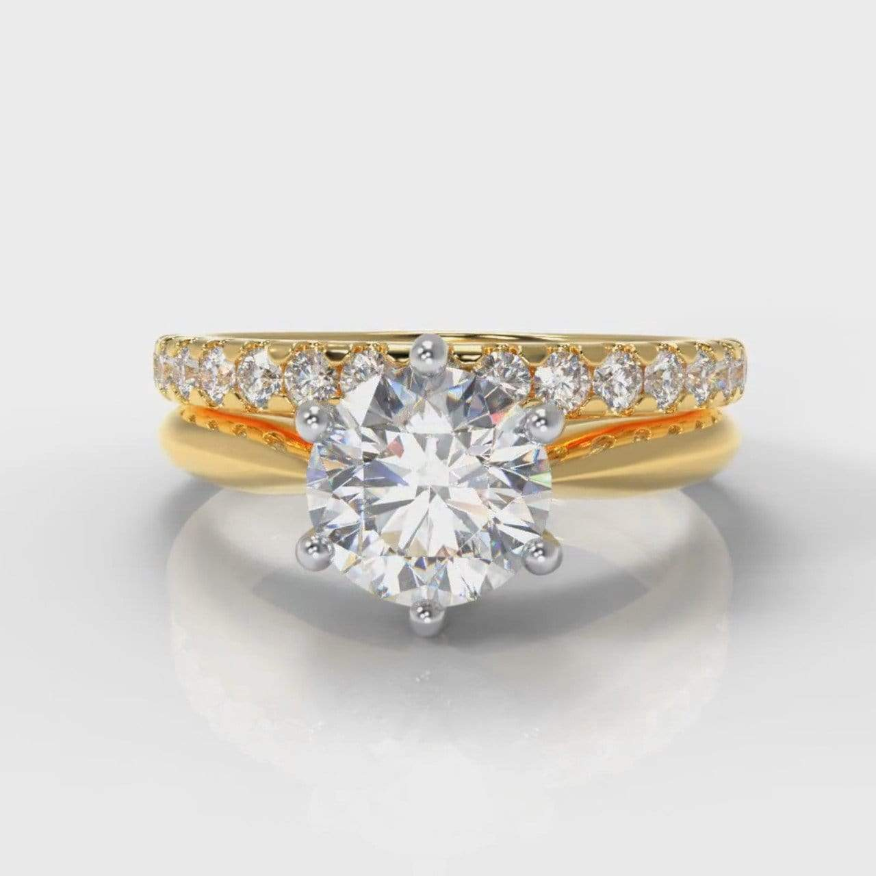 Six Claw Classic Solitaire Round Brilliant Cut Lab Diamond Bridal Ring Set - Yellow Gold