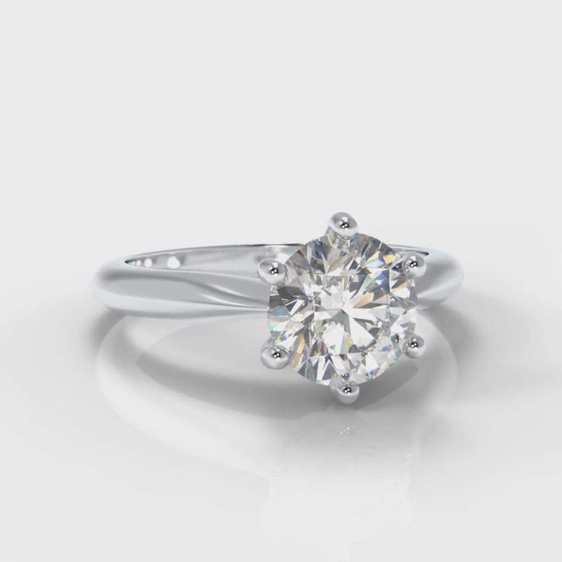 Six Claw Classic Solitaire Round Brilliant Cut Lab Diamond Engagement Ring
