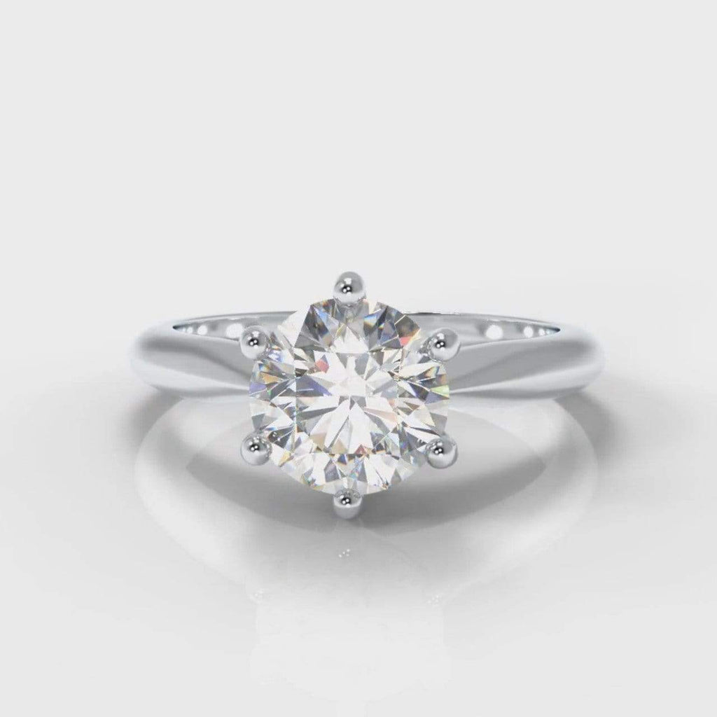 Six Claw Classic Solitaire Round Brilliant Cut Lab Diamond Engagement Ring-Ring Setting-Pure Carats-Pure Carats