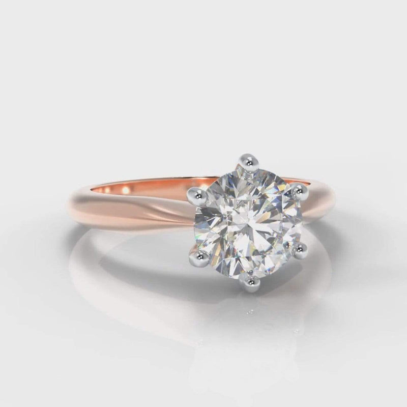 Six Claw Classic Solitaire Round Brilliant Cut Lab Diamond Engagement Ring - Rose Gold-Ring Setting-Pure Carats-Pure Carats