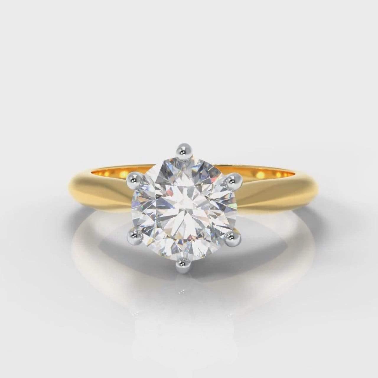 Six Claw Classic Solitaire Round Brilliant Cut Lab Diamond Engagement Ring - Yellow Gold-Ring Setting-Pure Carats-Pure Carats