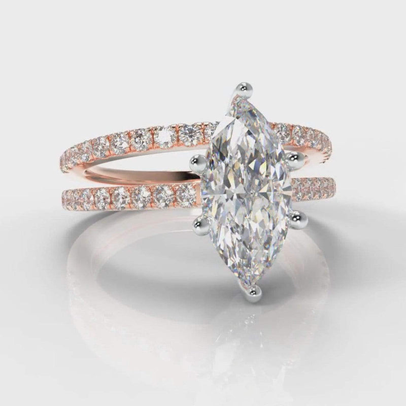 Six Claw Fine Castle Marquise Lab Diamond Bridal Ring Set - Rose Gold-Ring Setting-Pure Carats-Pure Carats
