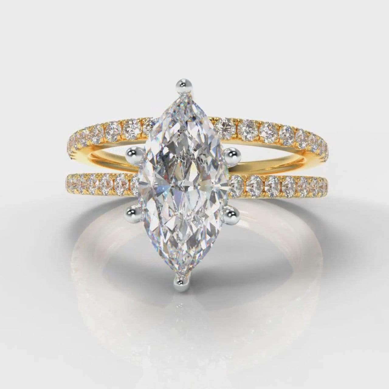 Six Claw Fine Castle Marquise Lab Diamond Bridal Ring Set - Yellow Gold-Ring Setting-Pure Carats-Pure Carats
