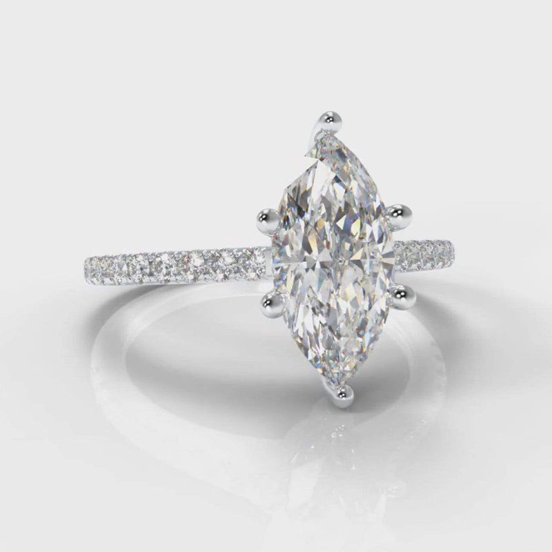 Six Claw Fine Castle Marquise Lab Diamond Engagement Ring-Ring Setting-Pure Carats-Pure Carats