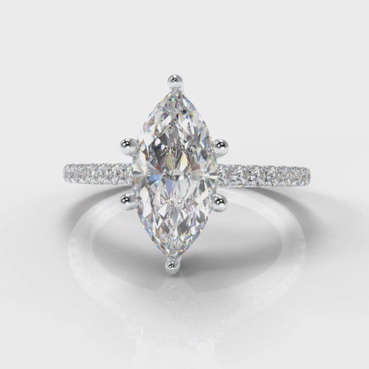 Six Claw Fine Castle Marquise Lab Diamond Engagement Ring