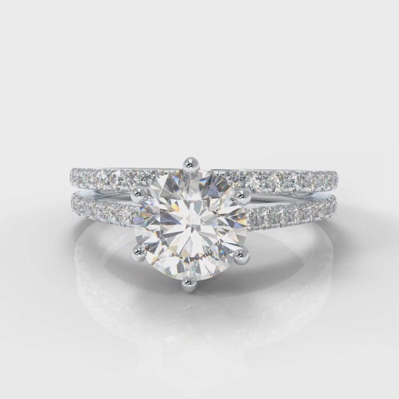 Six Claw Fine Castle Round Brilliant Cut Lab Diamond Bridal Ring Set-Ring Setting-Pure Carats-Pure Carats
