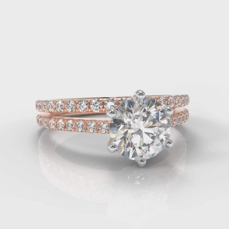 Six Claw Fine Castle Round Brilliant Cut Lab Diamond Bridal Ring Set - Rose Gold-Ring Setting-Pure Carats-Pure Carats