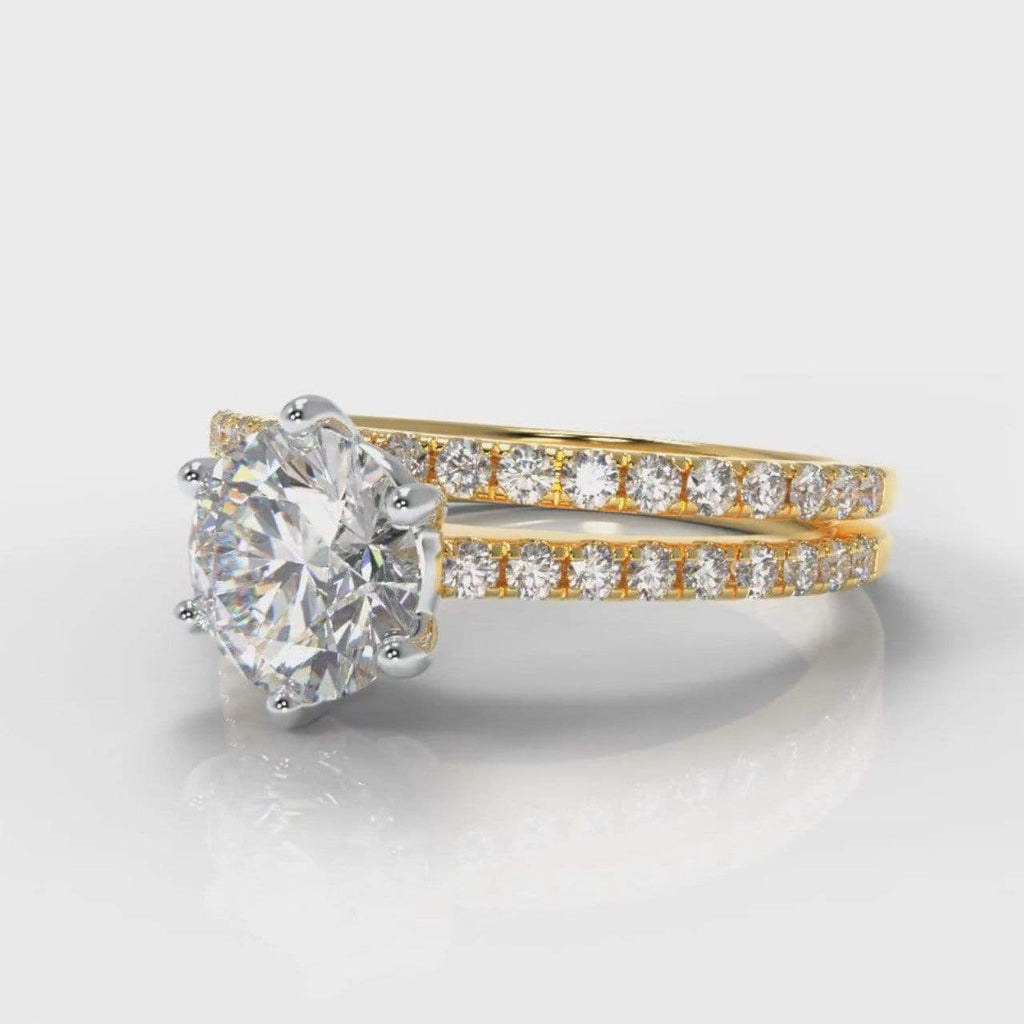 Six Claw Fine Castle Round Brilliant Cut Lab Diamond Bridal Ring Set - Yellow Gold-Ring Setting-Pure Carats-Pure Carats