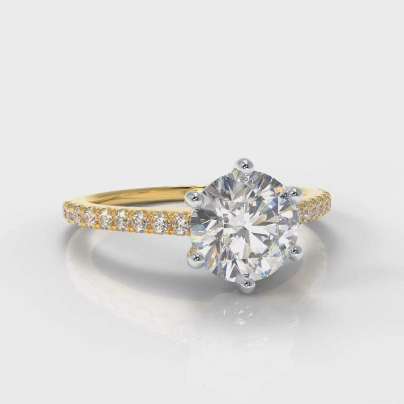Six Claw Fine Castle Round Brilliant Cut Lab Diamond Engagement Ring - Yellow Gold-Ring Setting-Pure Carats-Pure Carats