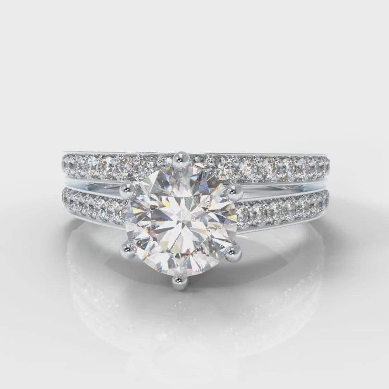 Six Claw Pavé Accent Round Brilliant Cut Lab Diamond Bridal Ring Set-Ring Setting-Pure Carats-Pure Carats