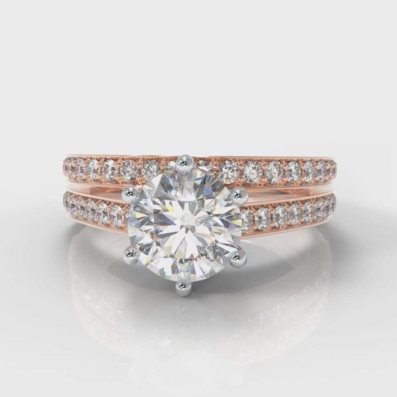Six Claw Pavé Accent Round Brilliant Cut Lab Diamond Bridal Ring Set - Rose Gold-Ring Setting-Pure Carats-Pure Carats