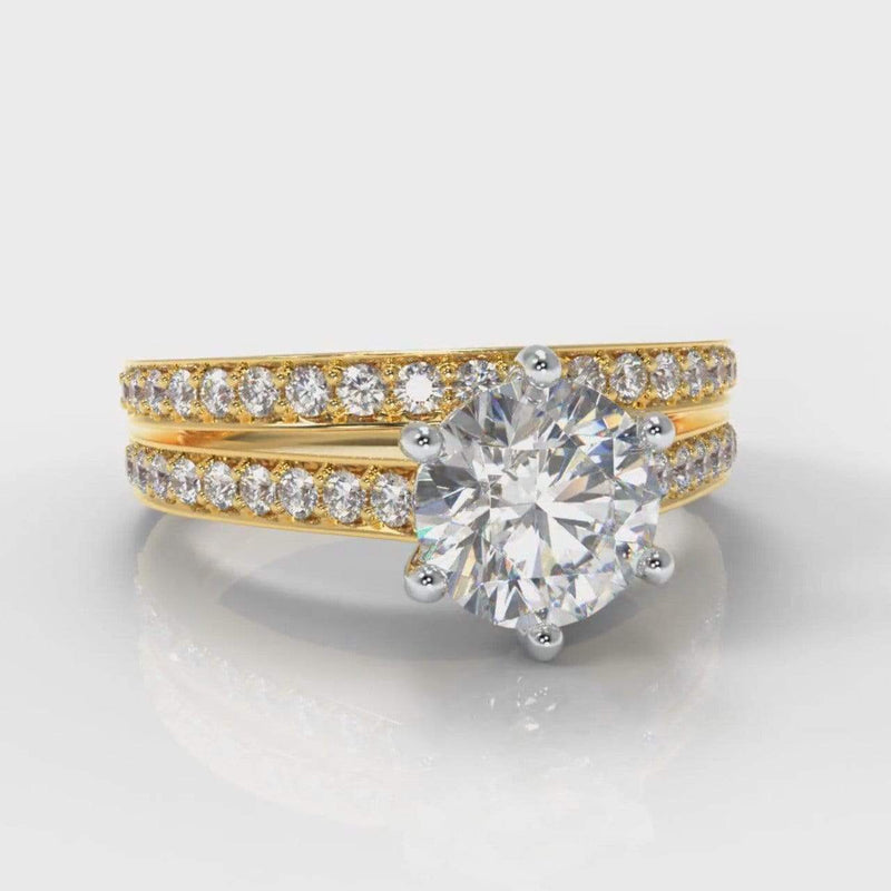 Six Claw Pavé Accent Round Brilliant Cut Lab Diamond Bridal Ring Set - Yellow Gold-Ring Setting-Pure Carats-Pure Carats