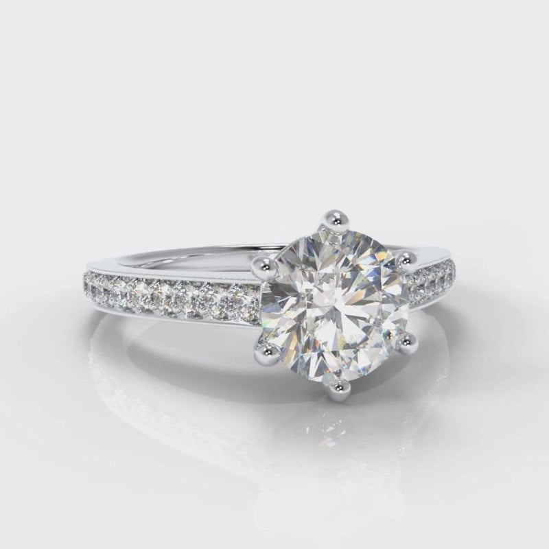 Six Claw Pavé Accent Round Brilliant Cut Lab Diamond Engagement Ring-Ring Setting-Pure Carats-Pure Carats