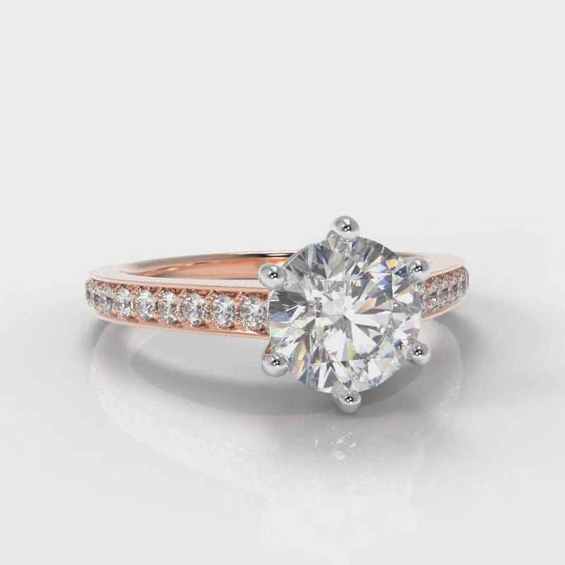Six Claw Pavé Accent Round Brilliant Cut Lab Diamond Engagement Ring - Rose Gold-Ring Setting-Pure Carats-Pure Carats