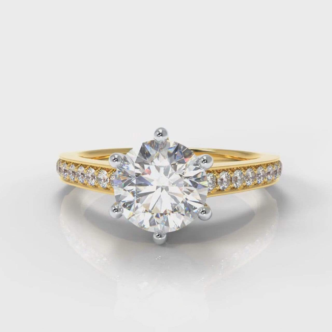 Six Claw Pavé Accent Round Brilliant Cut Lab Diamond Engagement Ring - Yellow Gold-Ring Setting-Pure Carats-Pure Carats