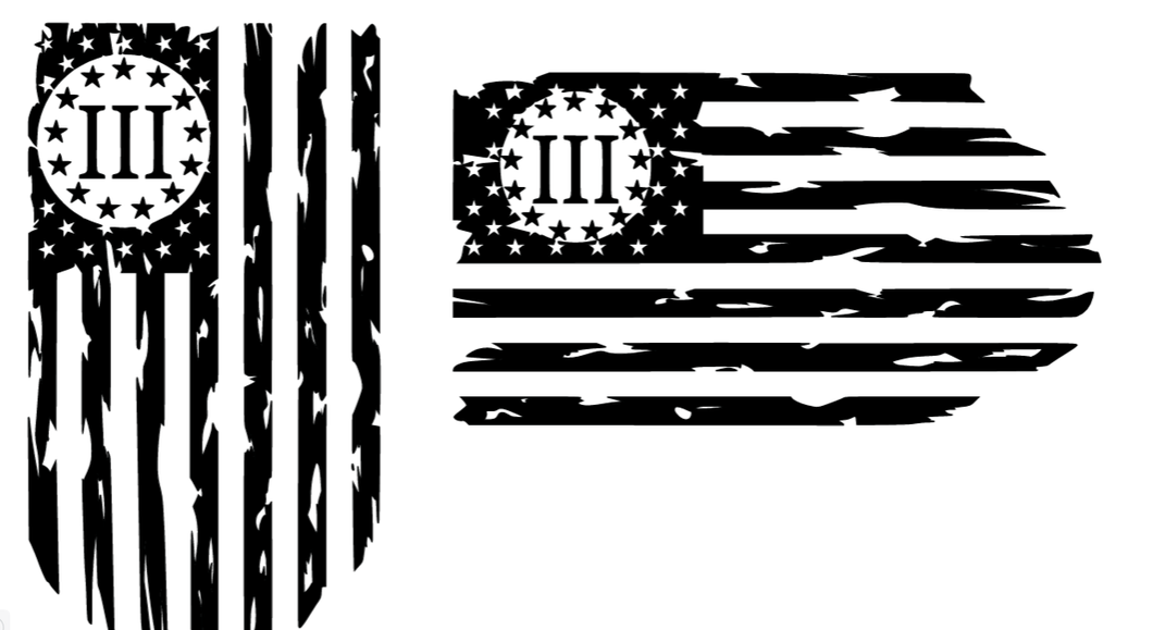 III Percent Patriot Flag Decal
