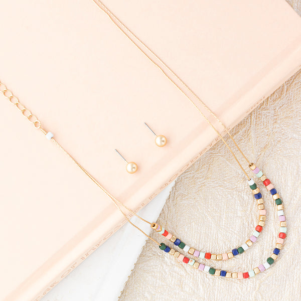 Color Block Necklace and Earring Set