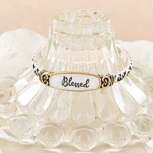 "Blessed Glass Bubble Bracelet - Gold 7.5"" Stretch"