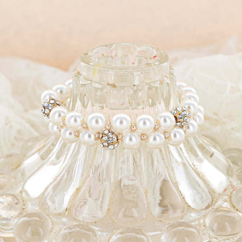 Pearl Stretch Bracelet with Rhinestones