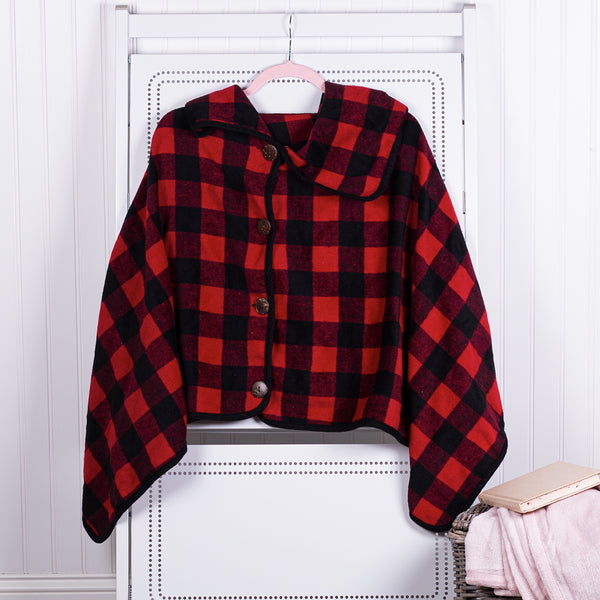 Red and Black Buffalo Plaid Cape
