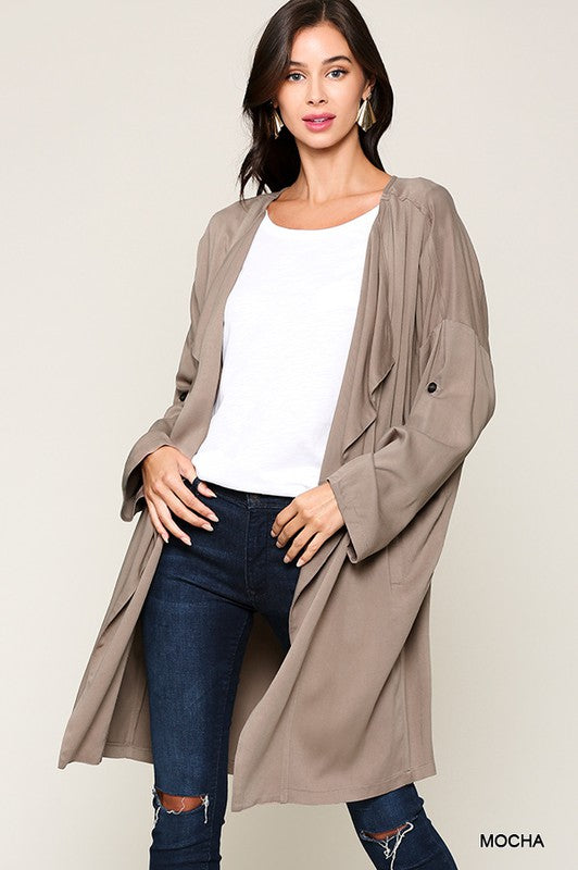 It's Clear to Me Long Cardigan Jacket - Mocha