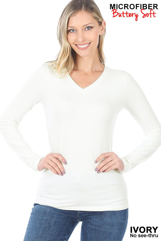 Essential V-Neck Shirt - Ivory