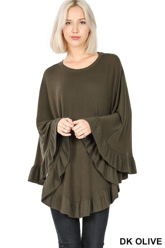 Warm Feelings Poncho - Olive