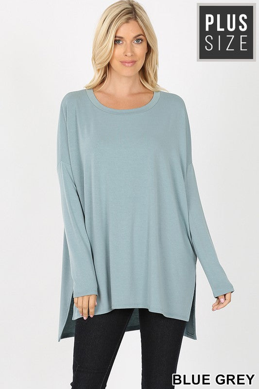Overwhelming Comfort Tunic Top - Blue Grey