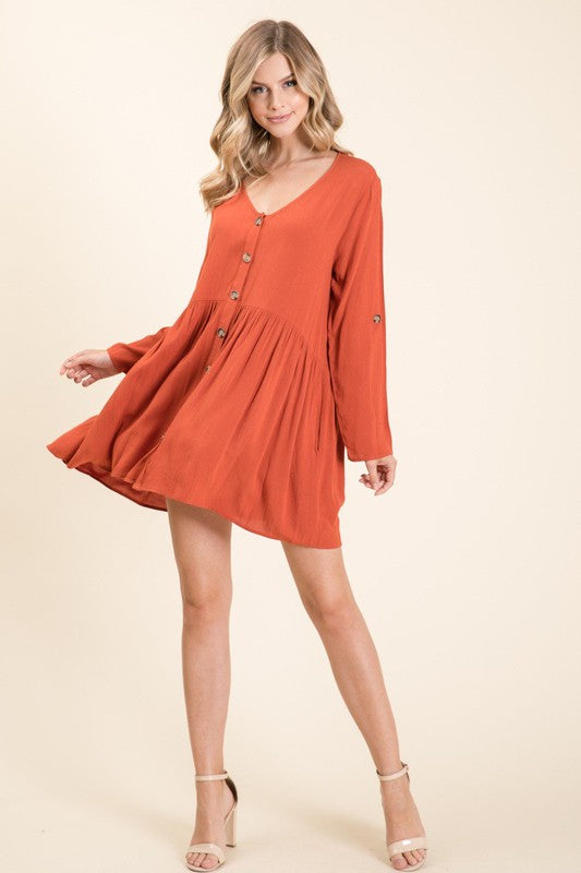 Buttoned Up Pleated Swing Dress - Rust