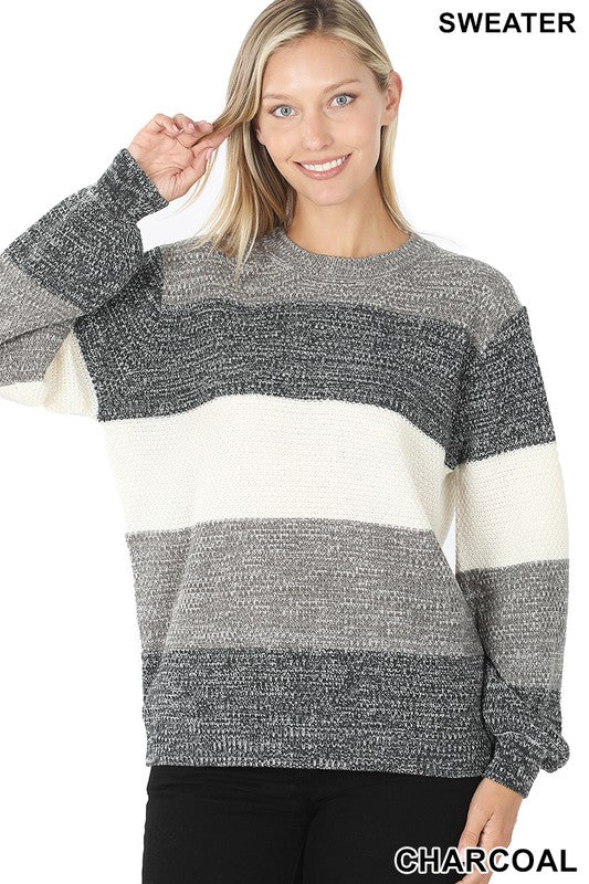 Frozen Moments Grey Striped Tunic Sweater