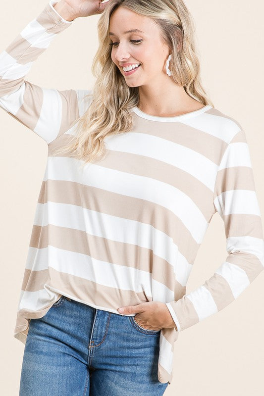A Little Stripe Top - Women's Striped Top Beige