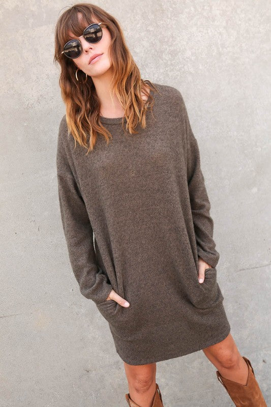 Mended Hearts Tunic Dress - Olive