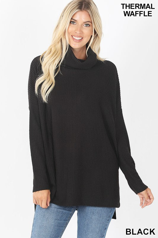 Call It A Day Cowl Neck Sweater - Black