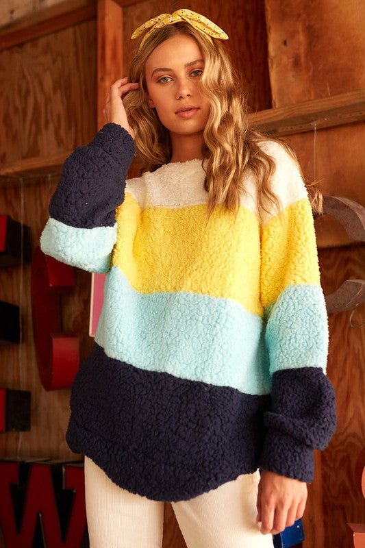 Color Block Sherpa Pullover