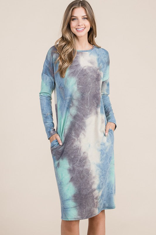Tie-Dye Dress - Teal
